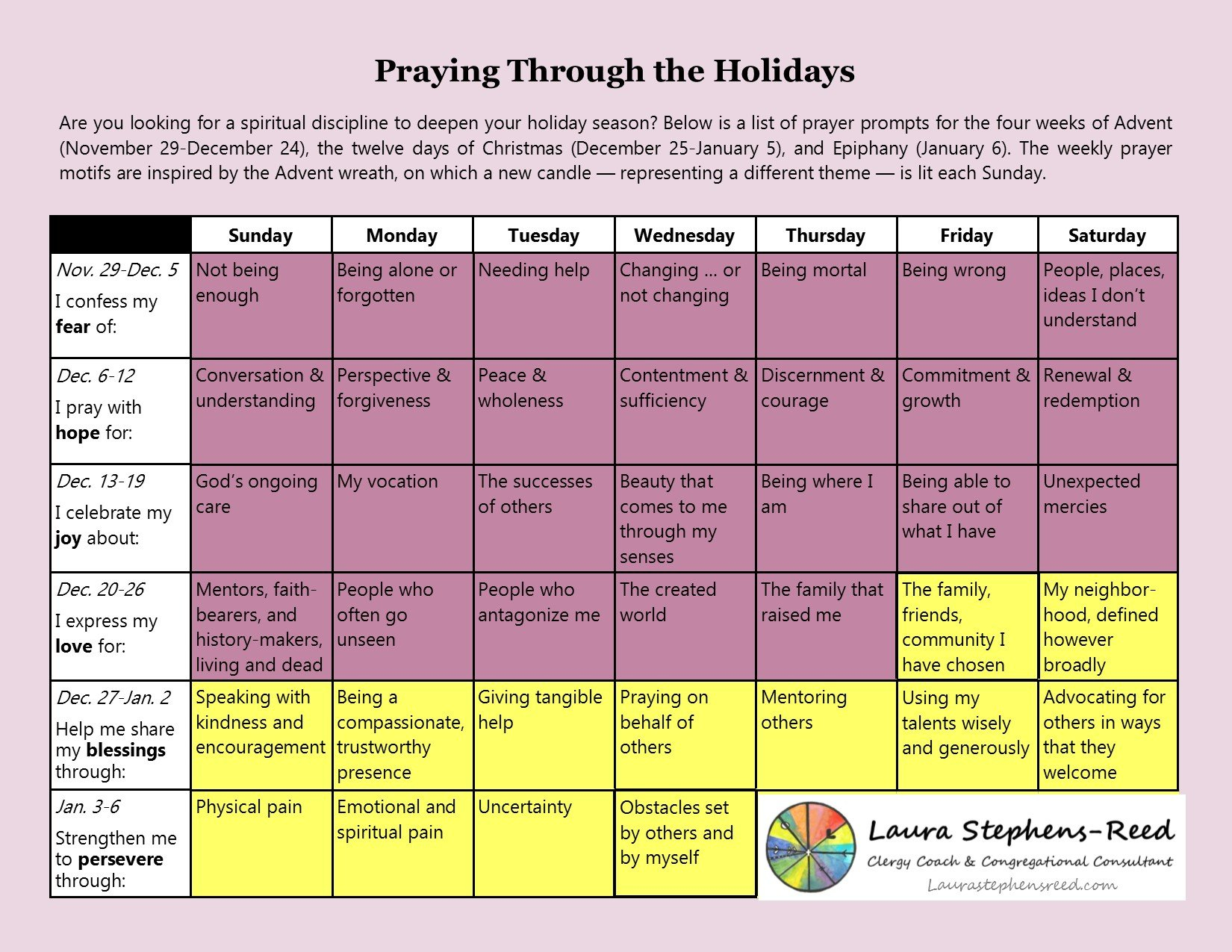 Advent Prayer Calendar | Laura Stephens Reed Daily Scripure Prayer Calendar