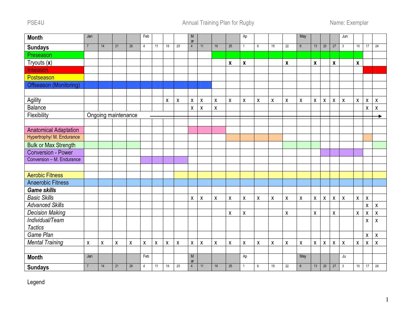Annual Training Plan Template Excel – Printable Schedule Annual Hr Calendar Template