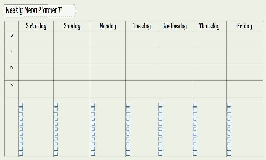 Another Version Of A Weekly Meal Planner In Onenote. Not Monday Thru Sunday Menu Template