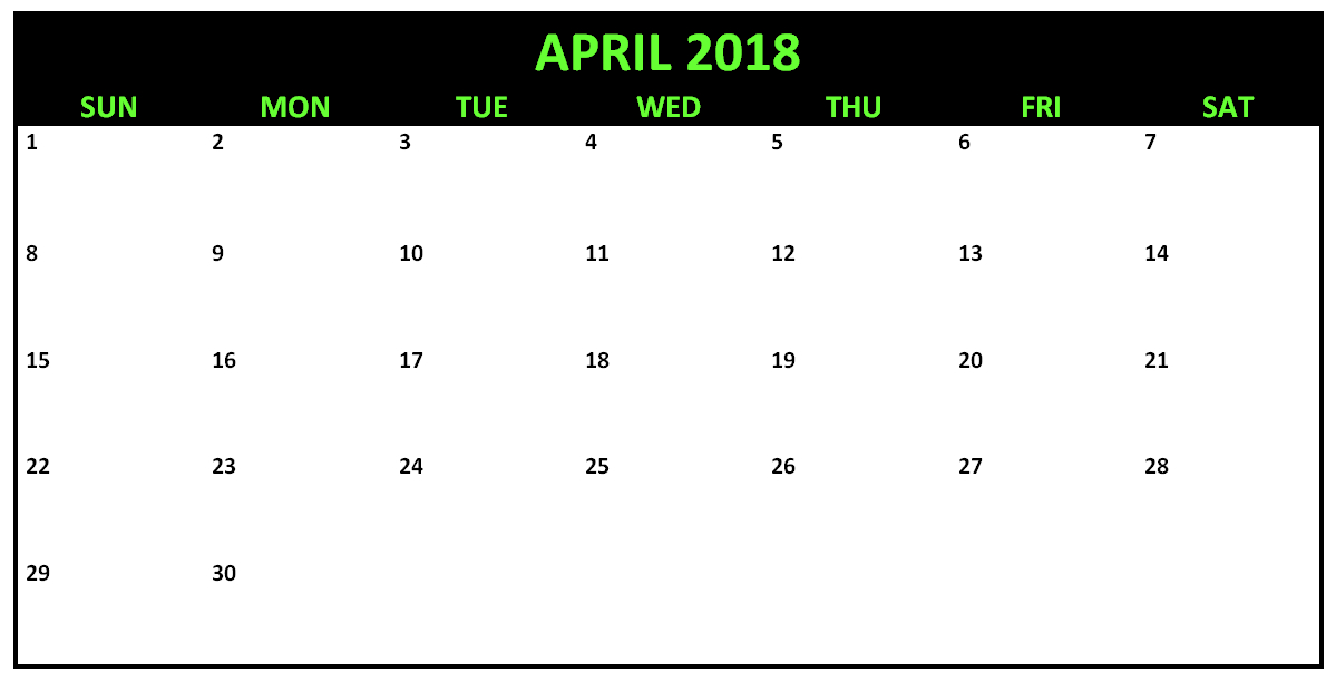 April 2018 Editable Calendar To Edit And Print   Editable April Callendar I Can Edit