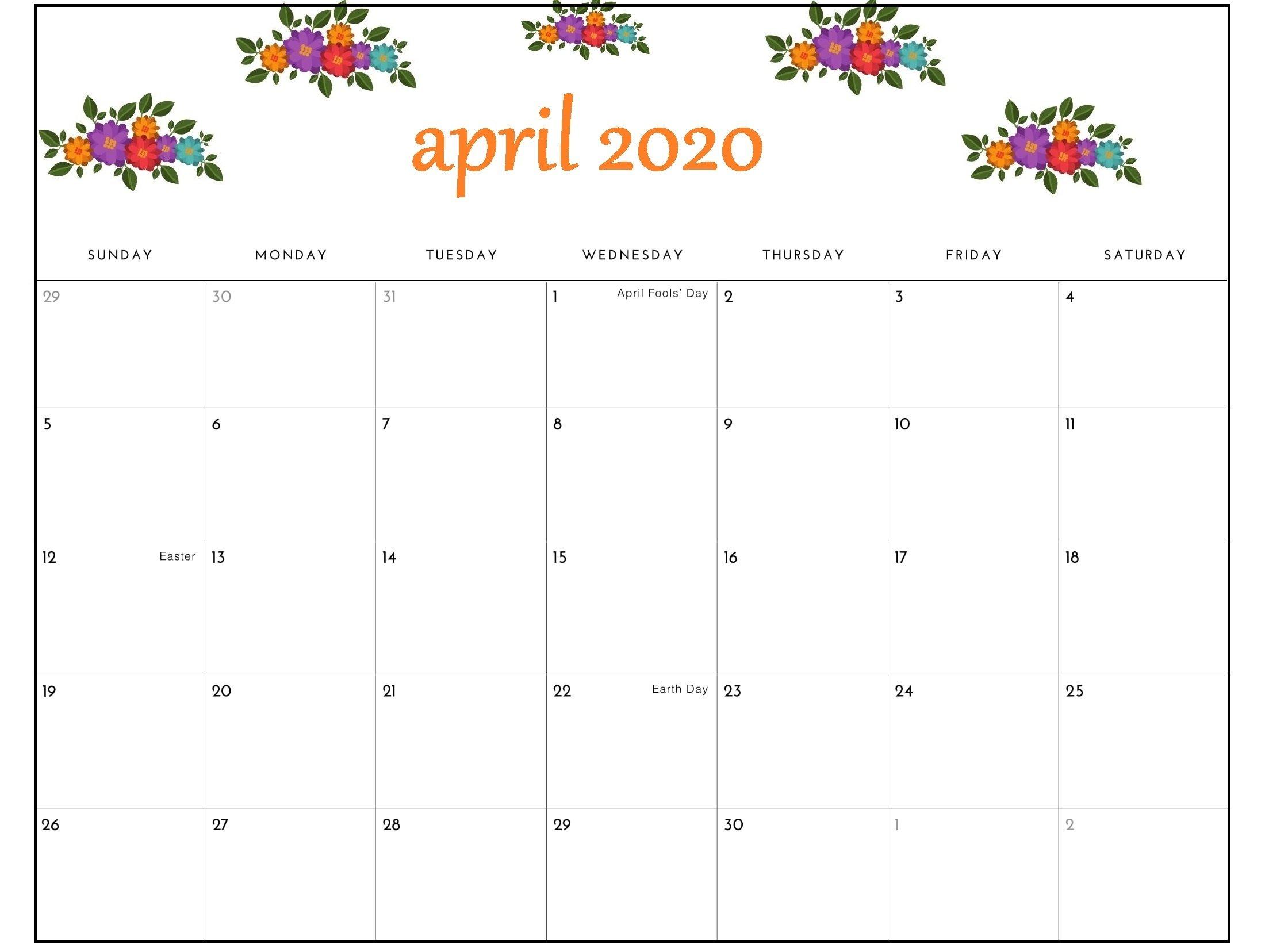 April 2020 Calendar Pdf Sheet For Exam | Free Printable 8X5 Monthly Calendar Print Outs