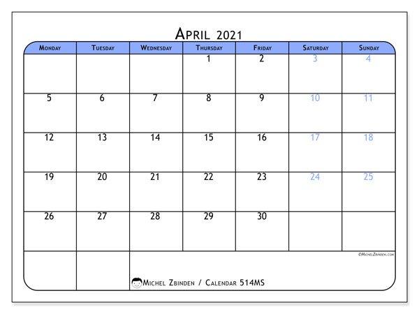 "April 2021 Calendars ""Monday – Sunday"" – Michel Zbinden En April Callendar I Can Edit"