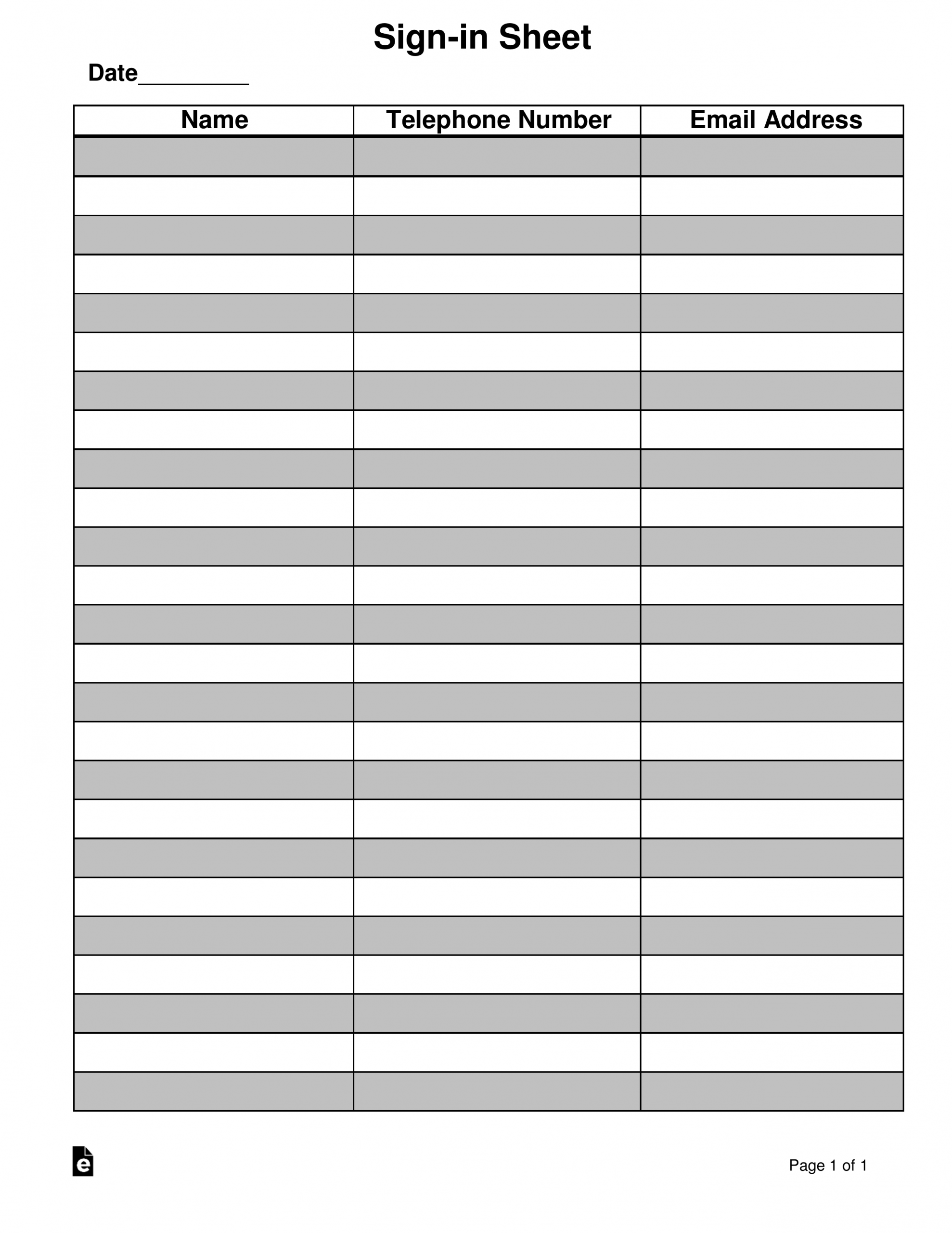 Attendance/Guest Sign In Sheet Template   Eforms – Free On Callalendar Sign Up Template