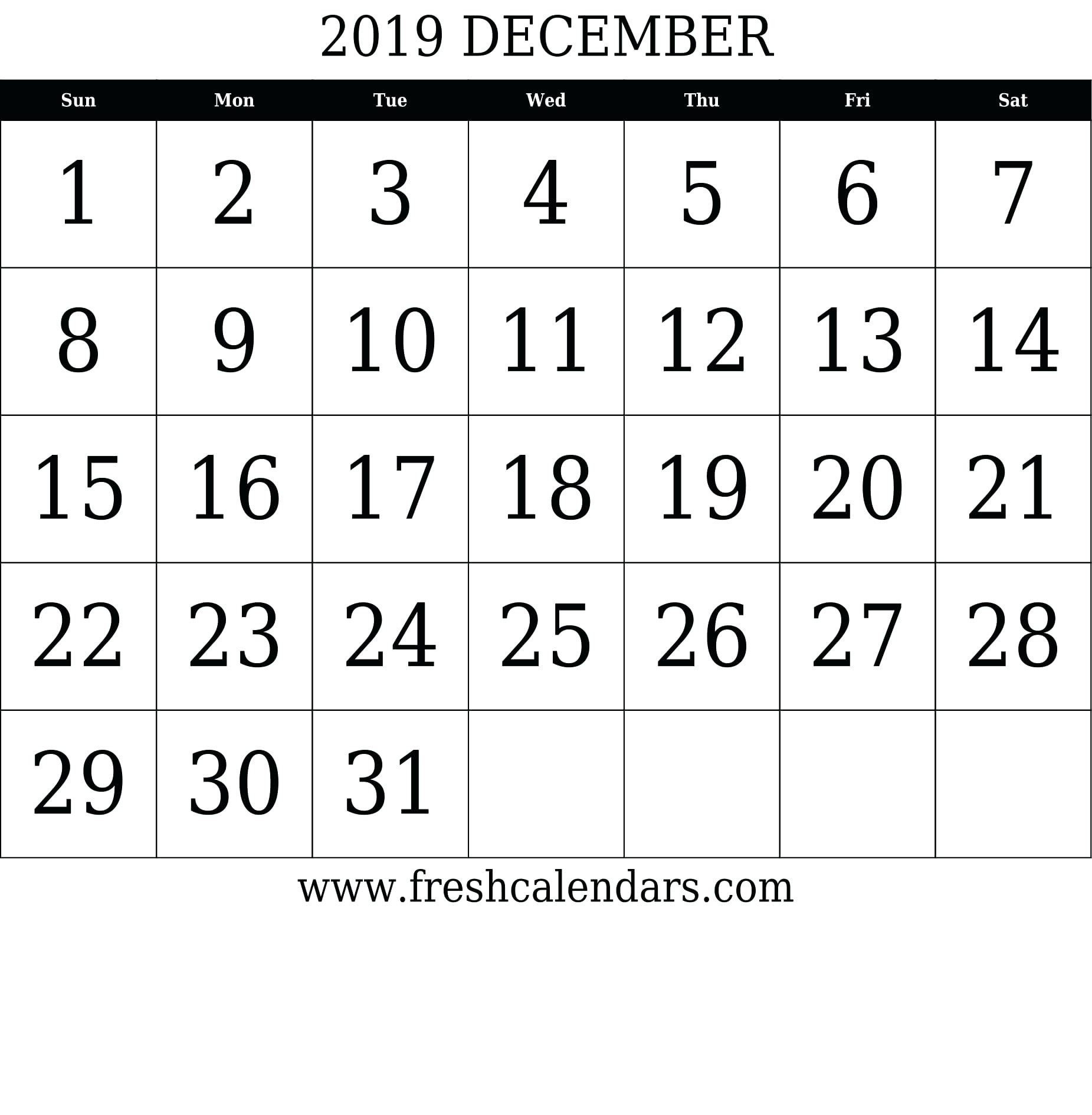 August 2019 – Template Calendar Design 31 Day Blank Calendar Printable