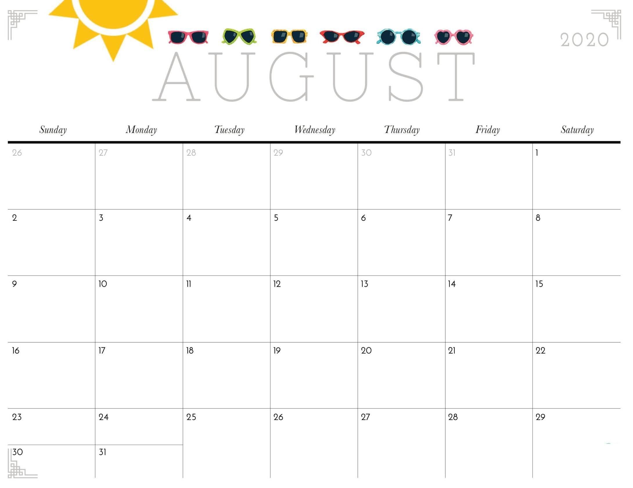 August 2020 Calendar Blank In 2020 | Calendar Printables Fillable Birthday Calendar Template Excel