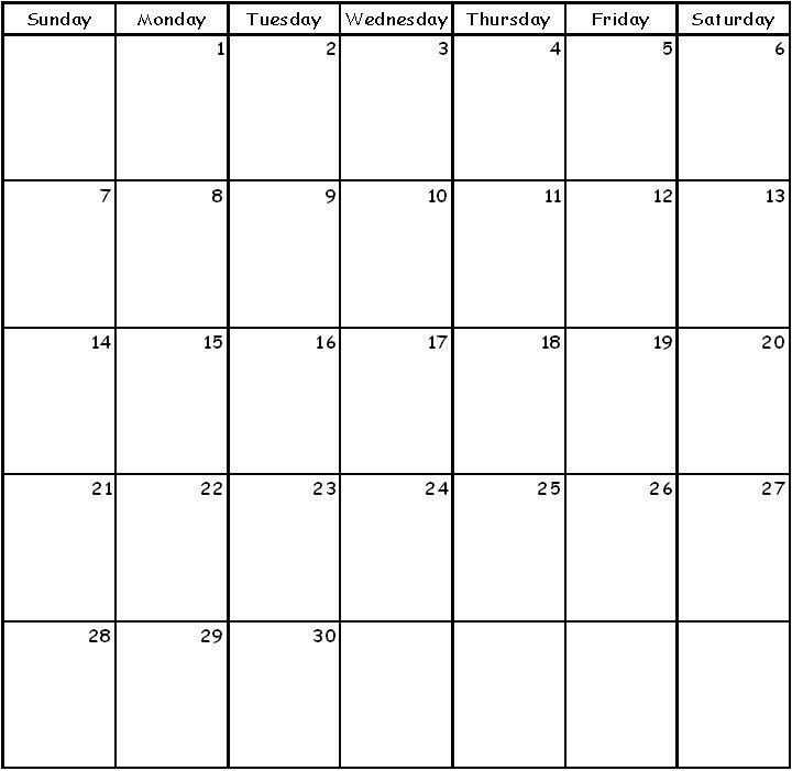 Awesome Blank 30 Day Calendar Printable   Free Printable Blank 30 Day Calender Printable