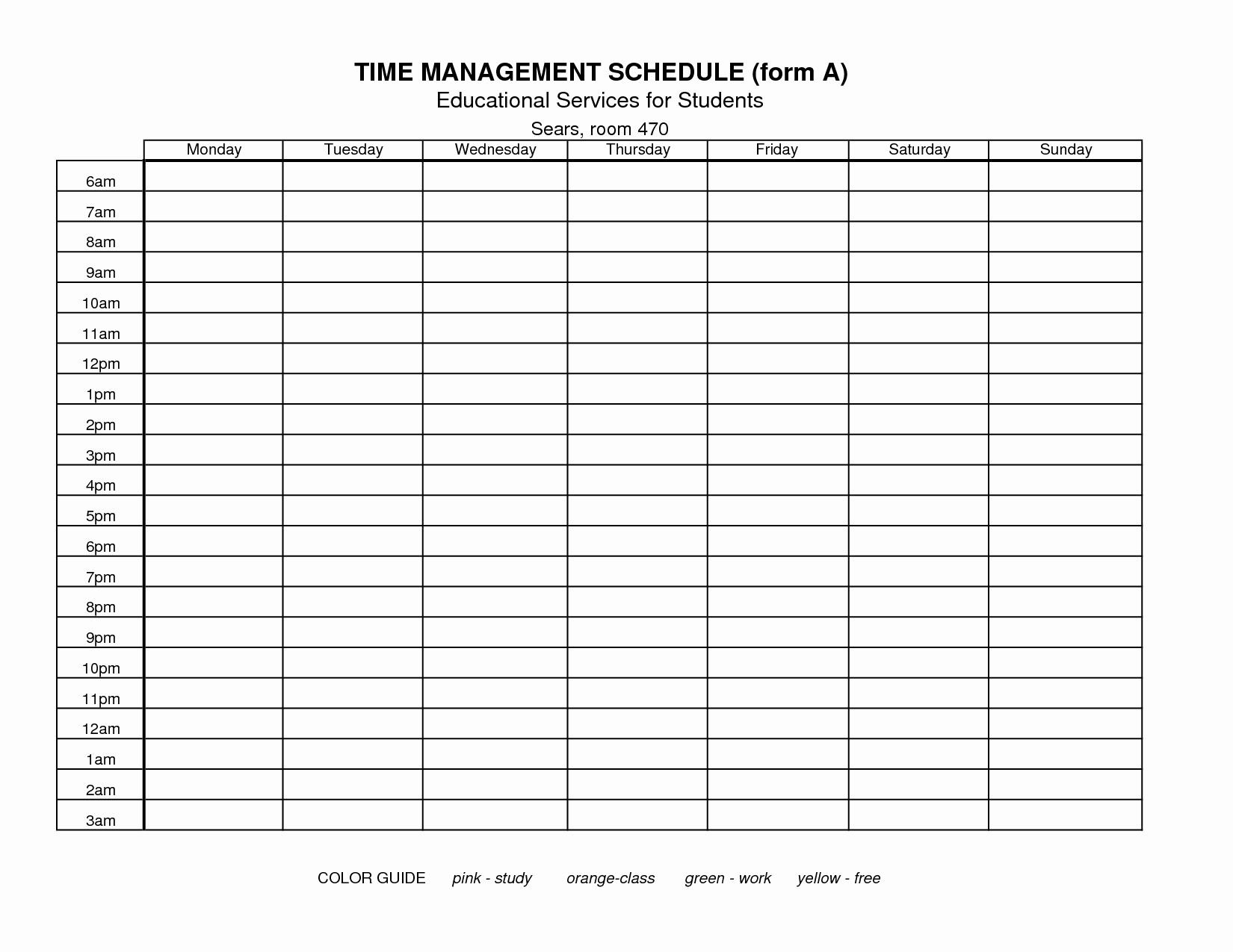 Awesome Time Management Chart Template In 2020 | Time Free Time Management Calendar