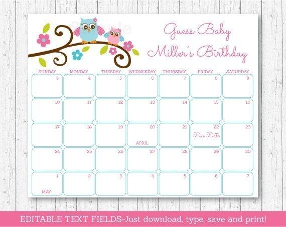 Baby Calendar Free Guess   Printable Calendar Template 2021 Baby Calendar Free Guess