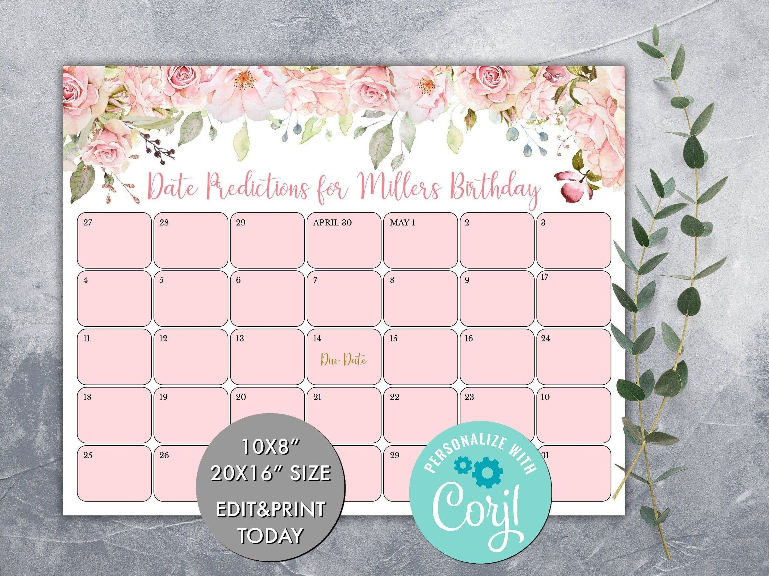 Baby Guess Birthday Free Printable | Calendar Template 2021 Babies Due Date Guess Large Print Out