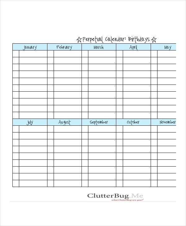 Birthday Calendar – 14+ Free Word, Pdf, Psd Documents Free Editable Birthday Calendar