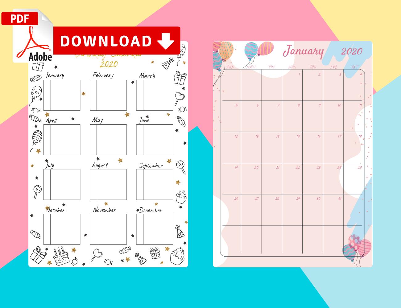 Birthday Calendar - Download Printable Birthday Calendar Free Fill In Birthday Calendar