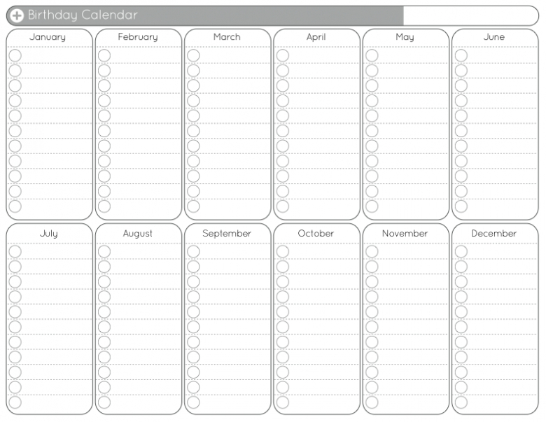 Birthday Calendar Free Printable Template : Free Calendar Perpetual Birthday And Anniversary Calendar Printable