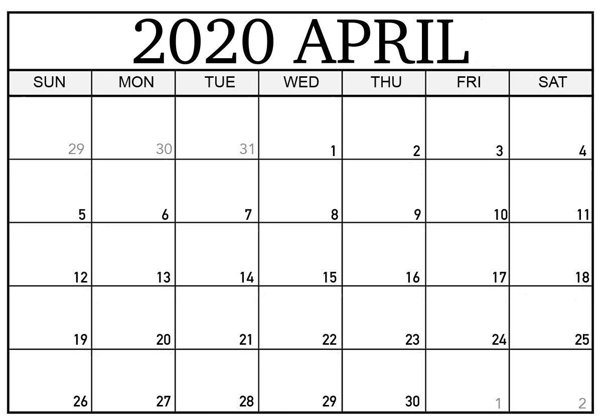Blank April 2020 Calendar | Printable Calendar Template 8X5 Monthly Calendar Print Outs