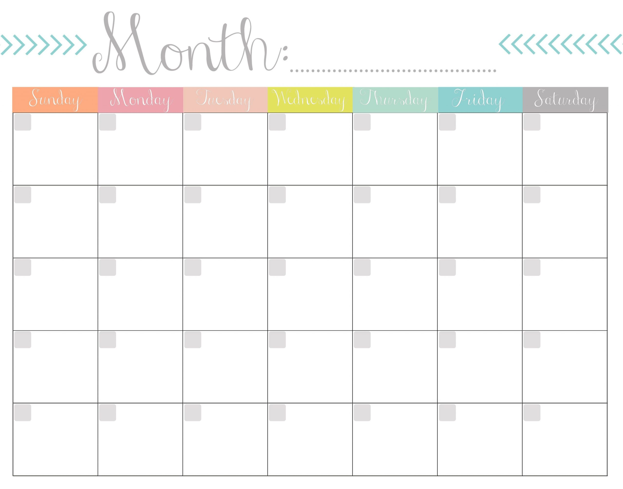 Blank Calendar 2020 Printable Monthly Payday Bills And Due One Week Calendar To Type In