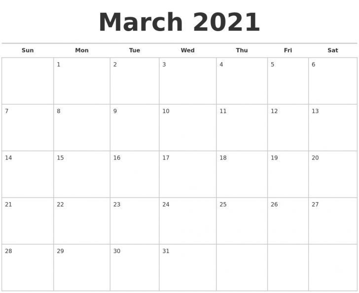 Blank Calendar 2021 March In 2020 | Blank Calendar, Free Hp Free Calander Templates