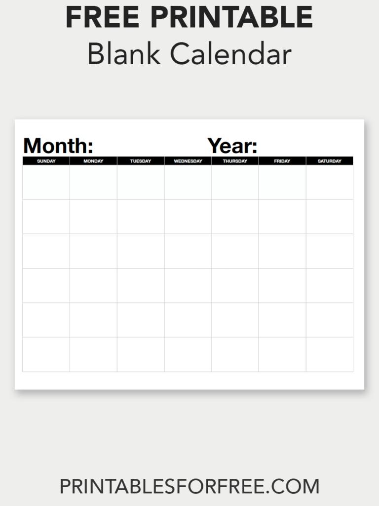 Blank Calendar (Monthly – Sunday Start | Blank Calendar Online Calendar Fill In