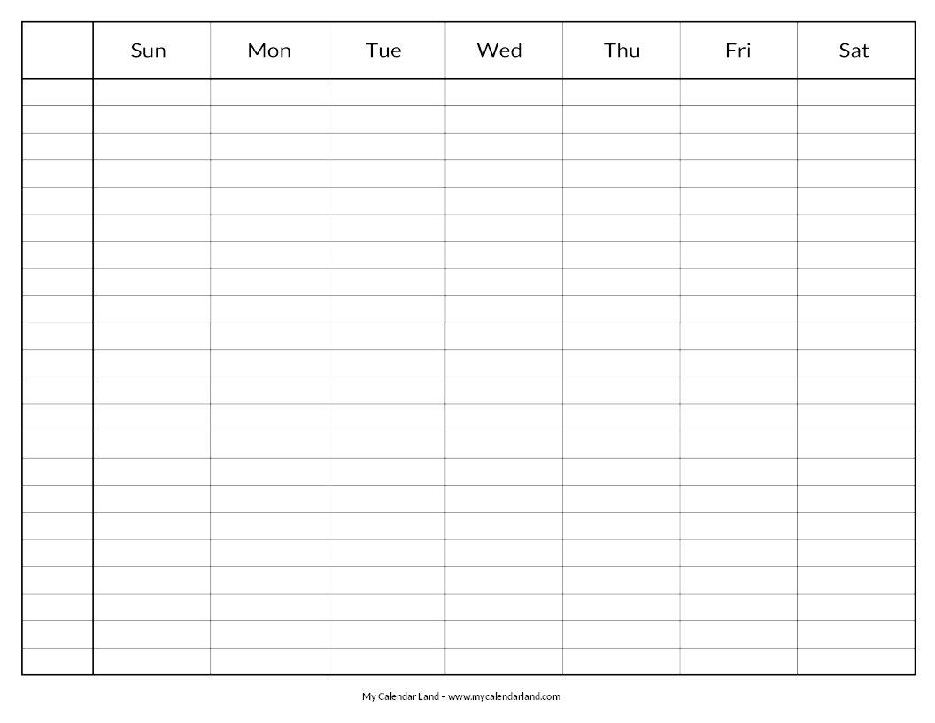 Blank Calendar Printable – My Calendar Land Print 8 Week Calendar