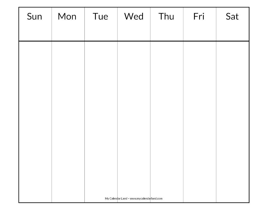 Blank Calendar Printable – My Calendar Land Weekly 2 Page Calendar