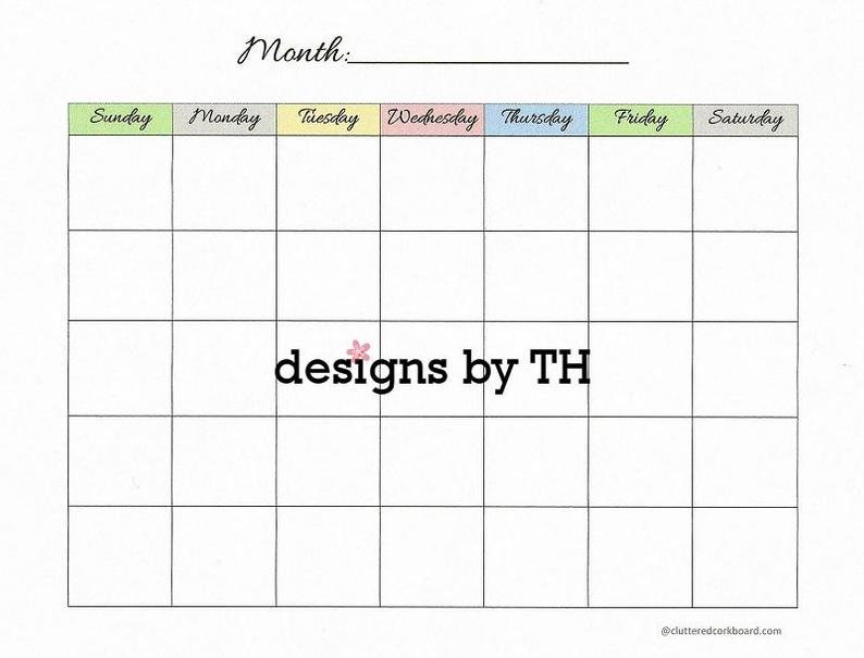 Blank Calendar Printable Pdf Instant Download | Etsy Where R My Blank Calendars