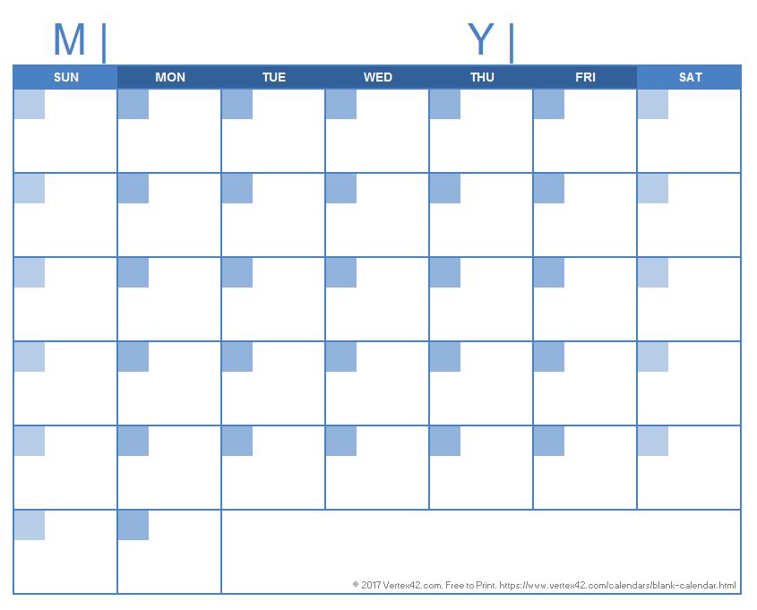 Blank Calendar Template – Free Printable Blank Calendars 31 Day Blank Calendar Printable