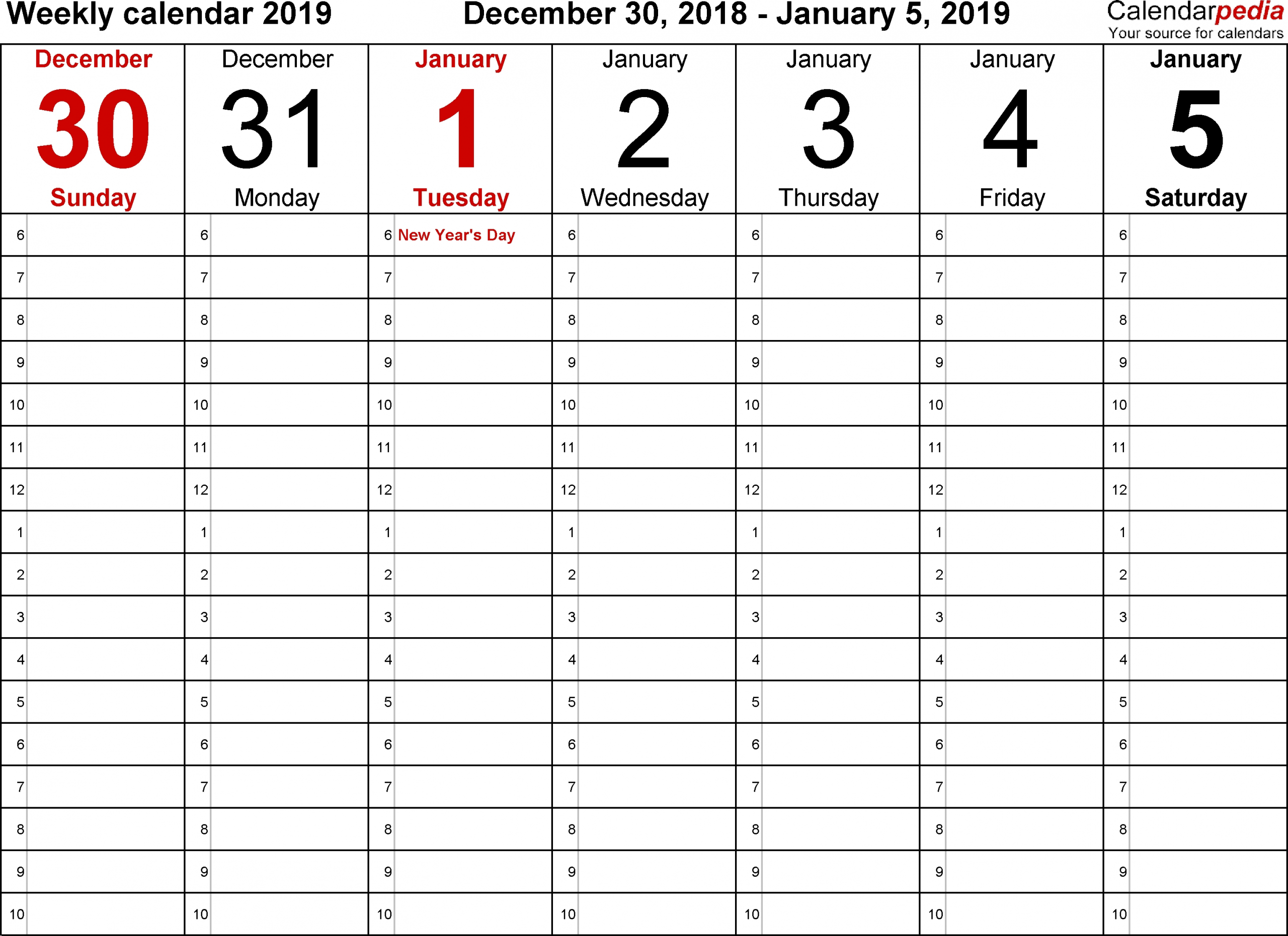 Blank Calendars To Print With Time Slots – Calendar Free Weekly Planner With Time Slots