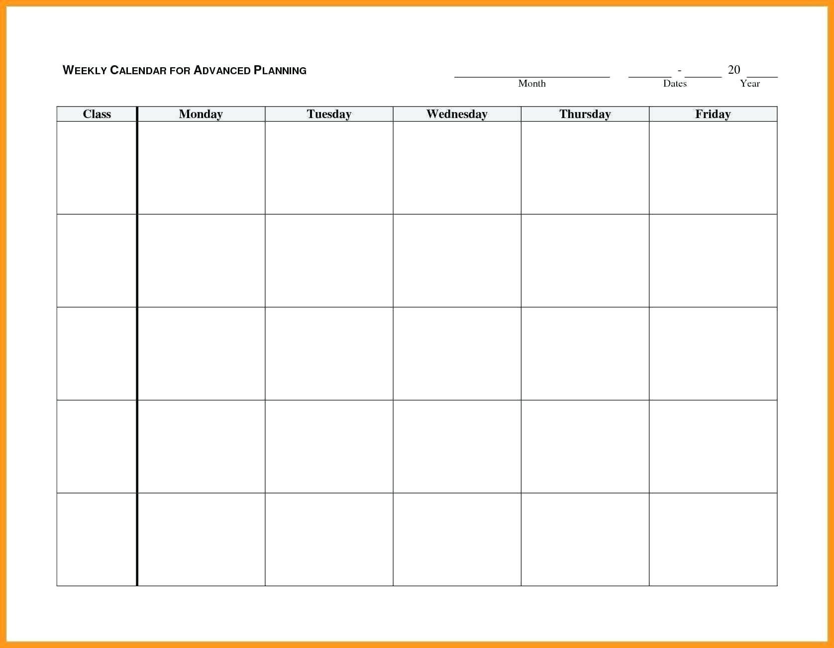 Blank Monday Through Friday Month Calendar Template : Free Monday To Friday Calender Template