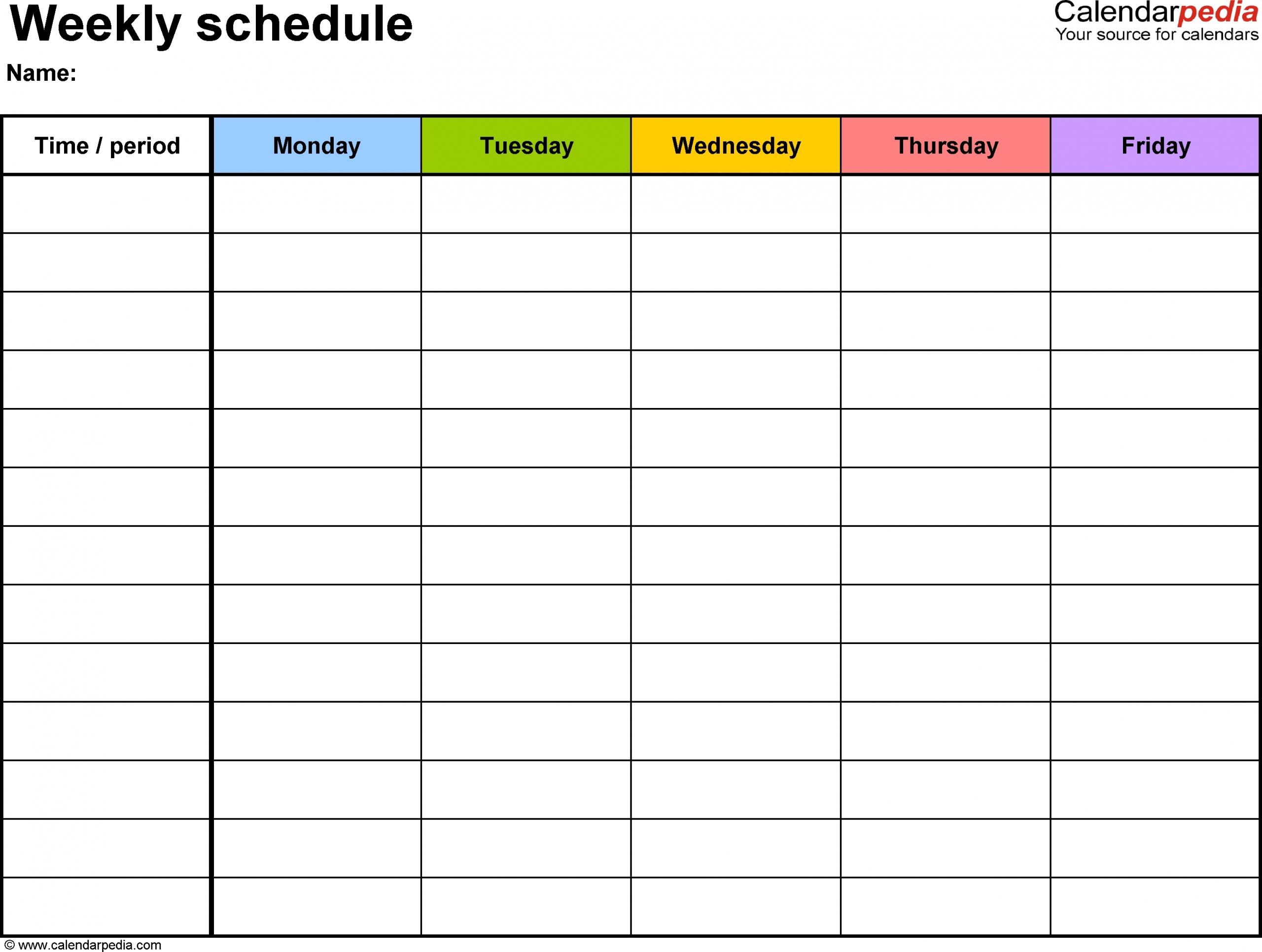 Blank Monday Through Friday Template   Ten Free Printable Printable Schedule Mon To Friday