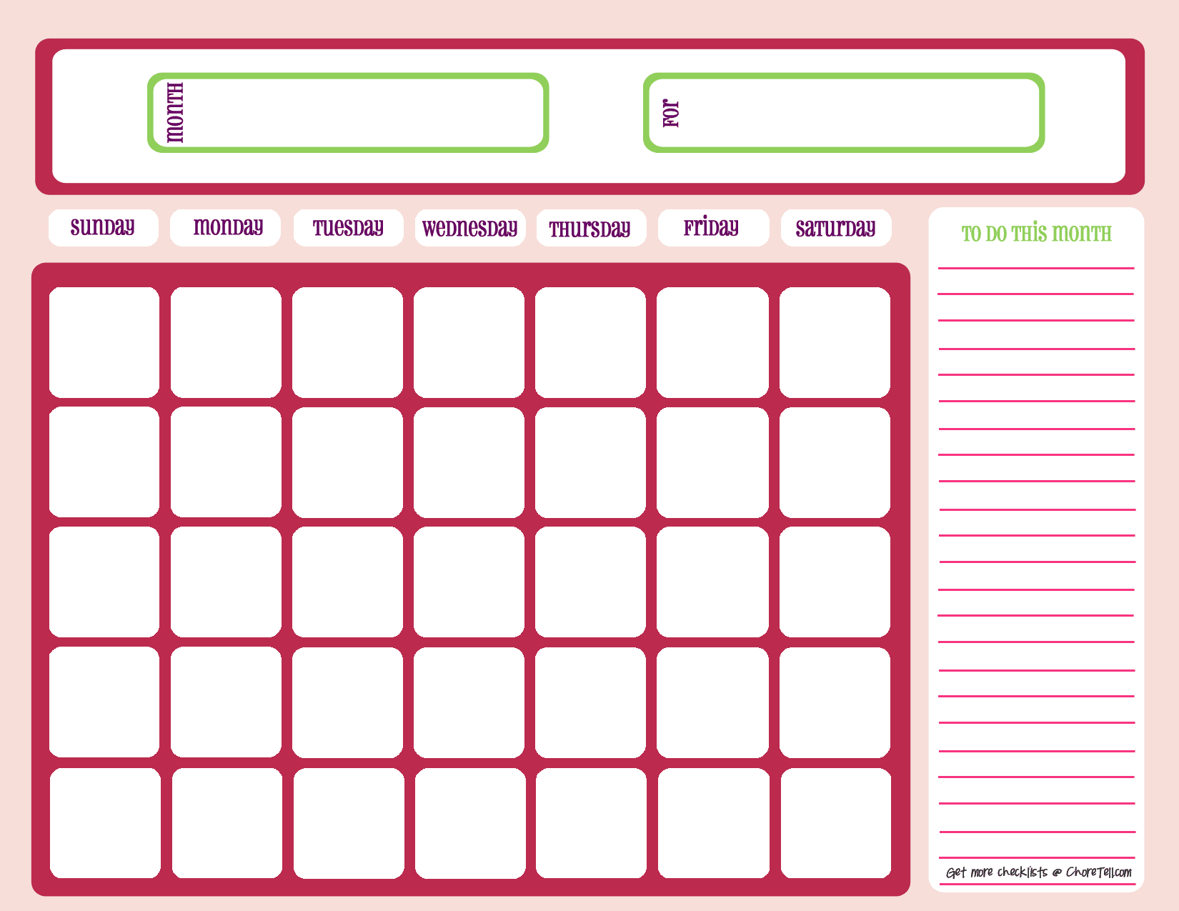 Blank Month Calendar – Pinks – Free Printable Downloads Free Fill In Birthday Calendar
