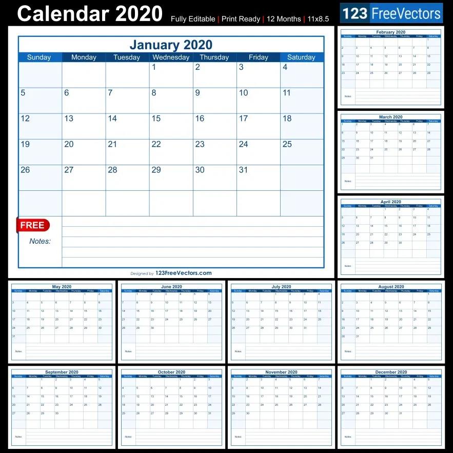 Blank Printable Calendar 2020   Calendar, Printable Printable Calendar I Can Edit And Pring