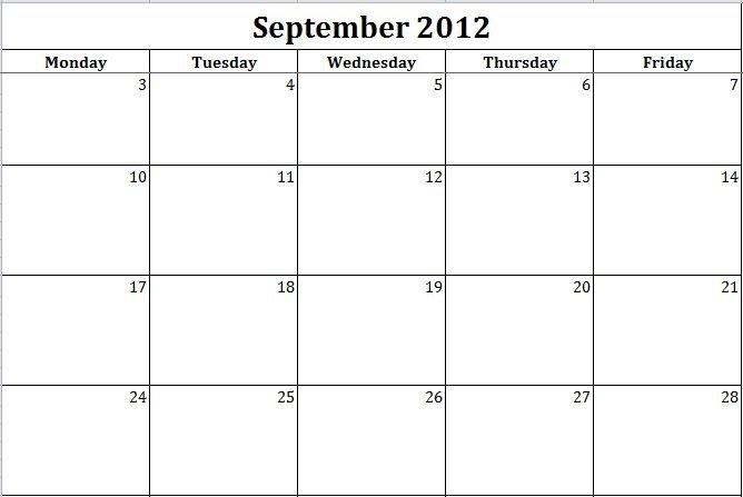Blank Printable Calendar Monday Thru Friday : Free Blank Calendar Template Monday Friday