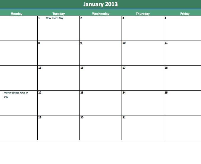 Blank Printable Calendar Monday Thru Friday : Free Downloadable Monday To Friday Calendar