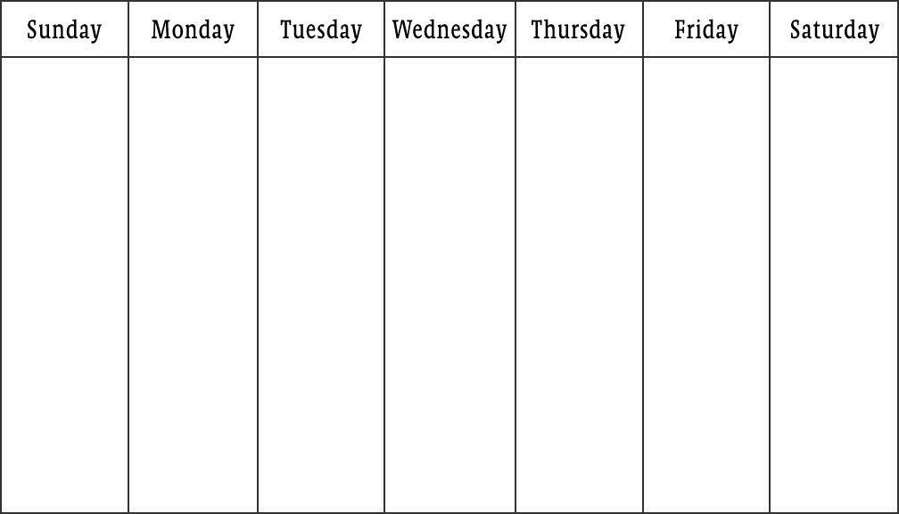 Blank Saturday To Friday : Free Calendar Template Sunday Through Saturday Planner