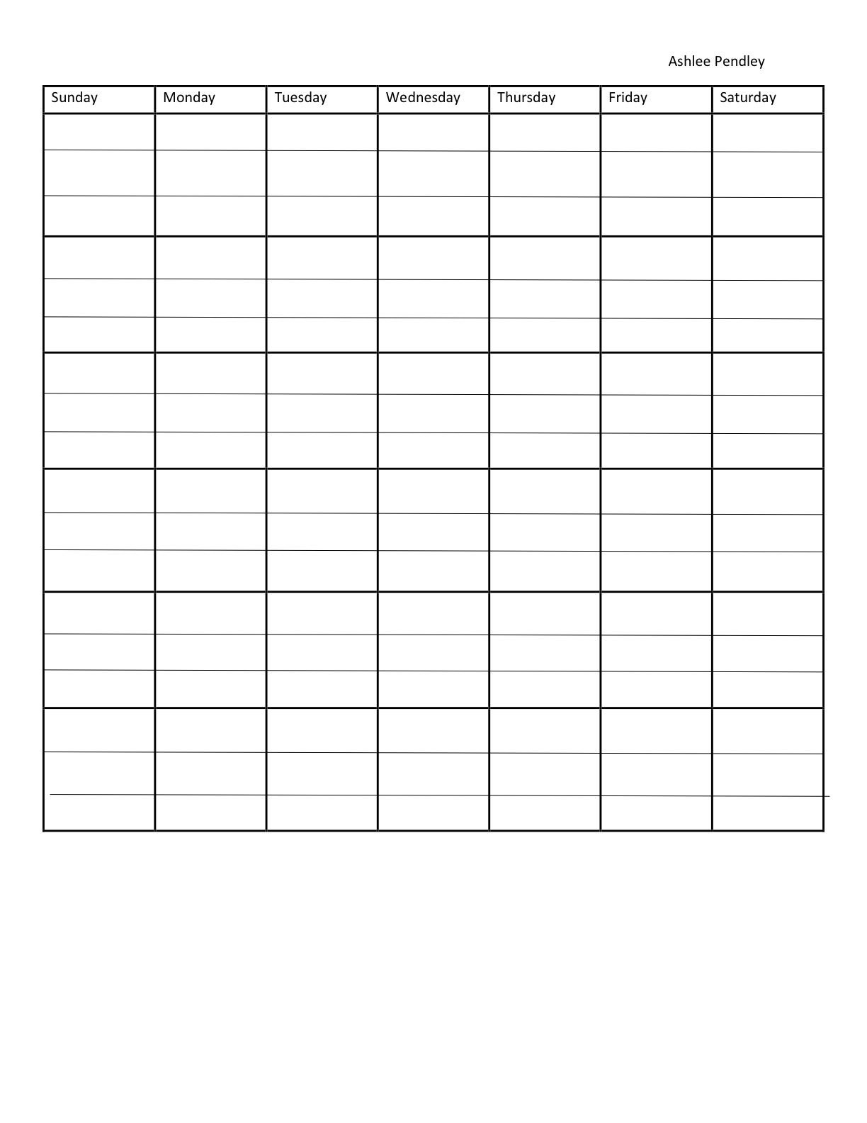 Blank Seven Day Calendar | Calendar Template, Weekly 7 Day Week Blank Timetable