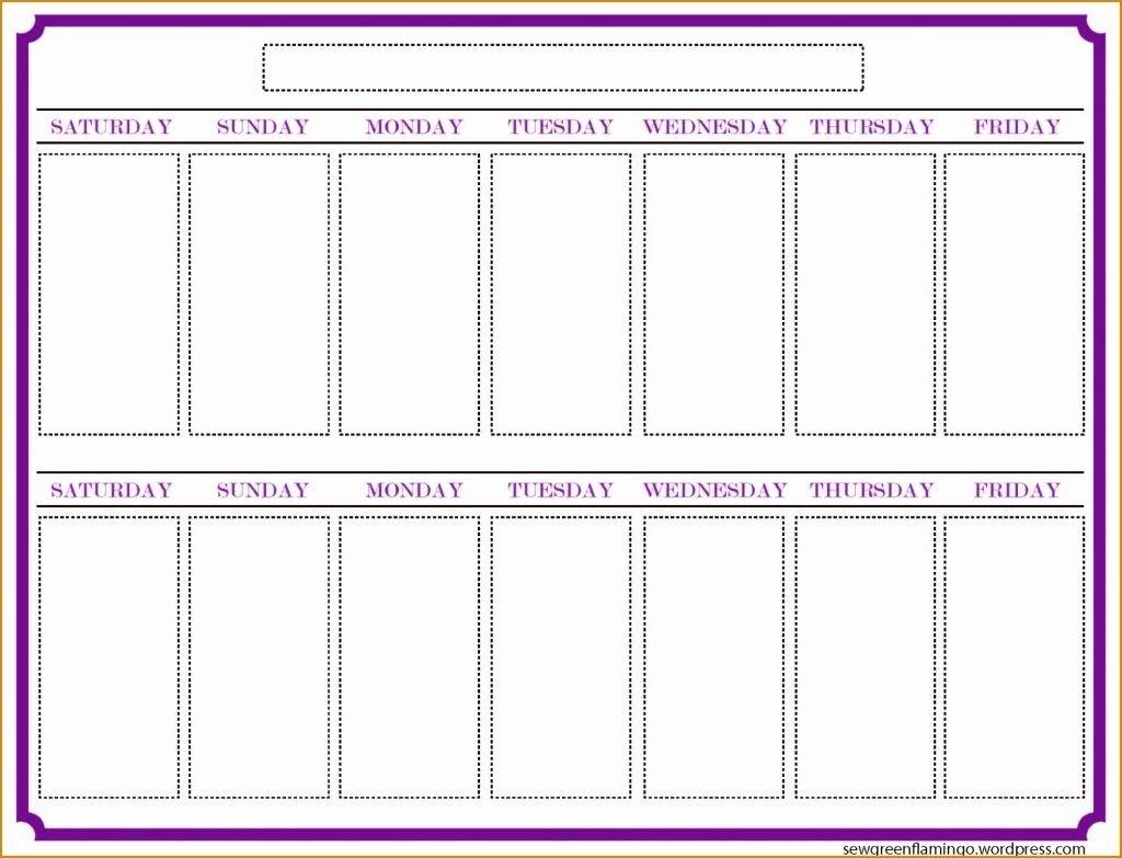 Blank Two Week Calendar Template – Calendar Inspiration Design Blank 2 Week Schedule Template