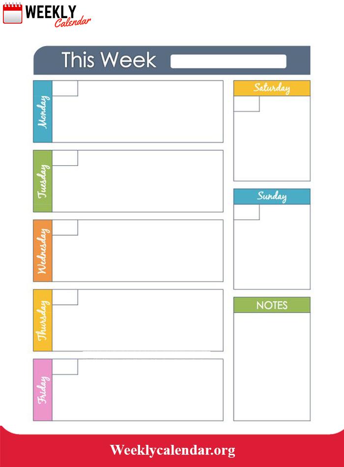 Blank Week Calendar Template   Weekly Calendar Blank Timetable One Week