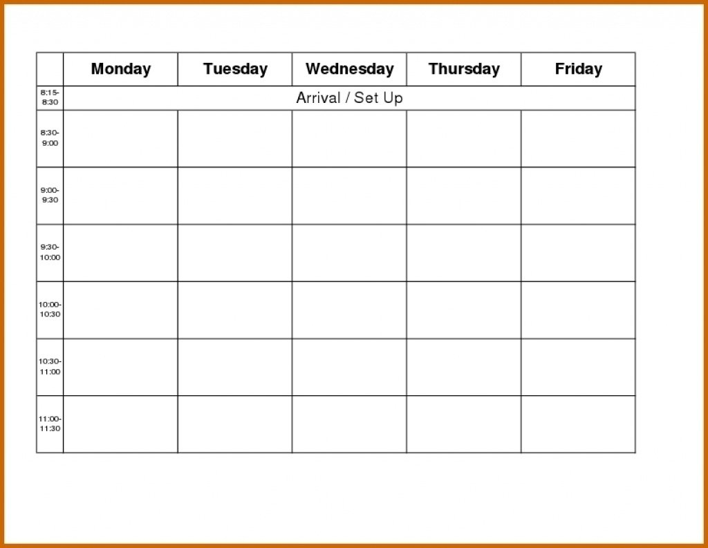 Blank Weekly Calendar Monday To Friday – Calendar Downloadable Monday To Friday Calendar