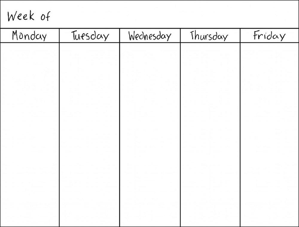 Blank Weekly Calendars Printable | Activity Shelter Weekly Calendar Monday – Friday