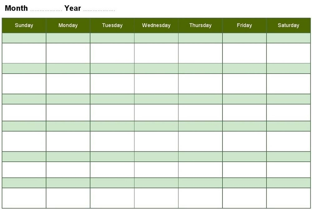 Blank Weekly Calendars Printable | Blank Monthly Calendar Online Birthday Calenders To Fill In