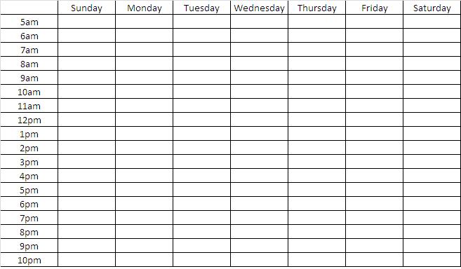 Blank Weekly Chart Template | Search Engine – Image Sample 2 Week Calendar