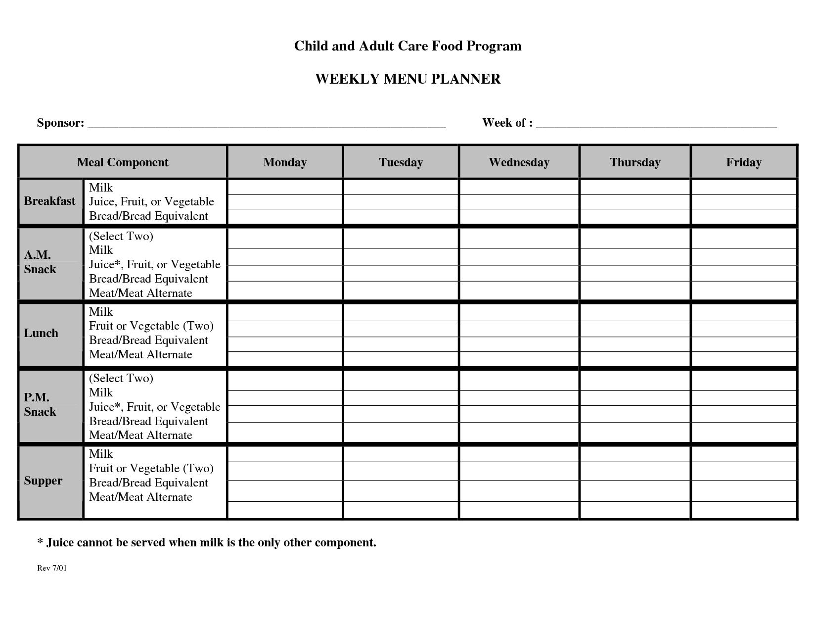 Blank+Day+Care+Weekly+Menu+Planner+Template In 2020 | Menu Monday Thru Sunday Menu Template
