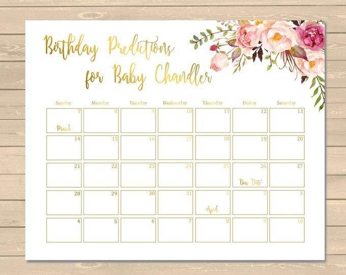 Boho Floral Birthday Prediction Calendar, Printable Boho Baby Birth Date Guess Calender