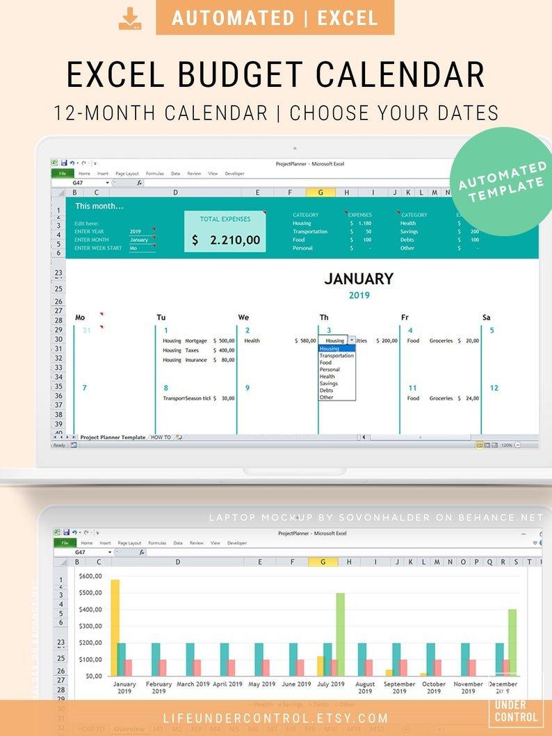 Budget Calendar Excel | 2020Calendartemplates Time Off Calendar Template Excel