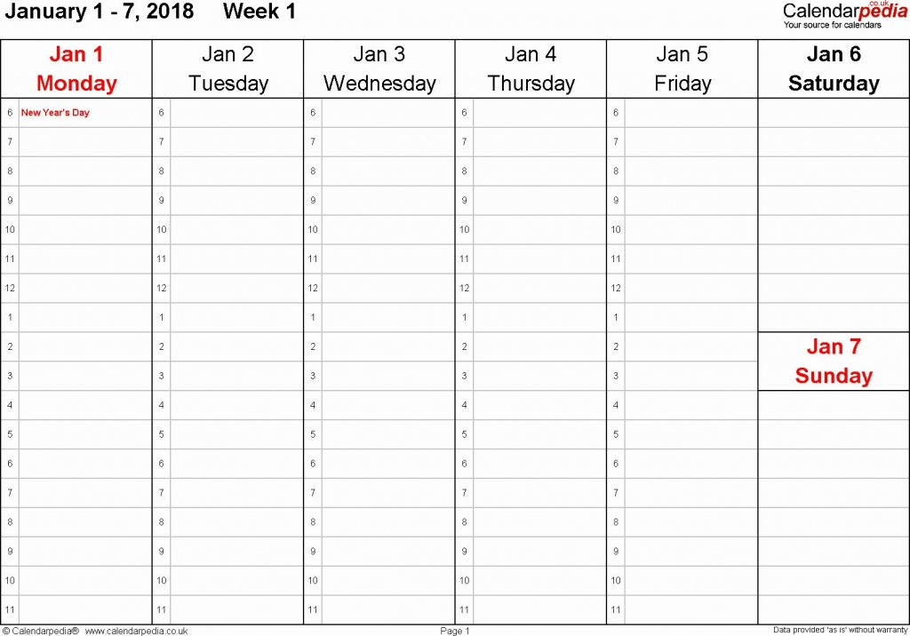 Calandar With Hours – Calendar Template 2020 A One Week Calander