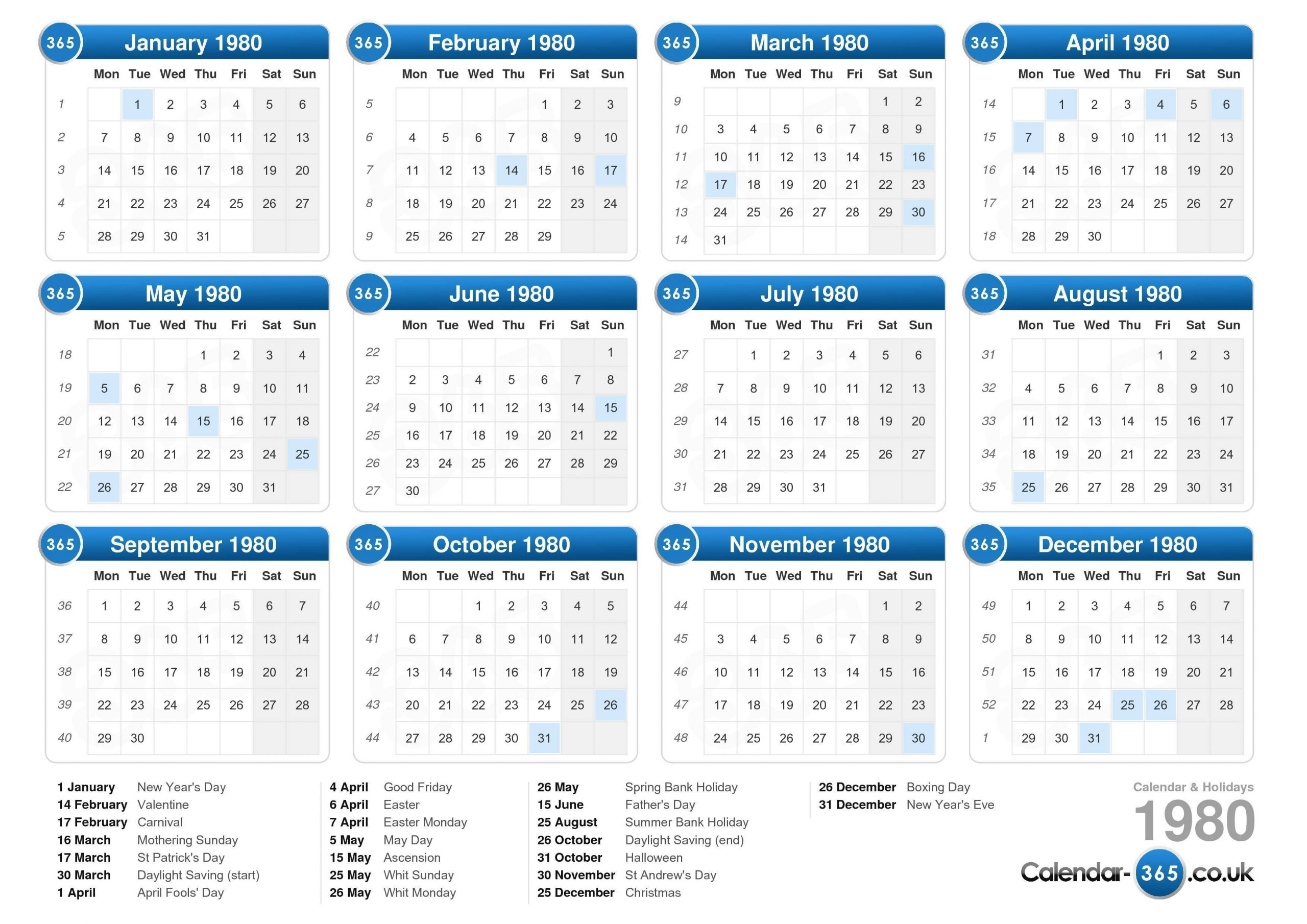 Calendar 1980 Calendar With Number Days 365