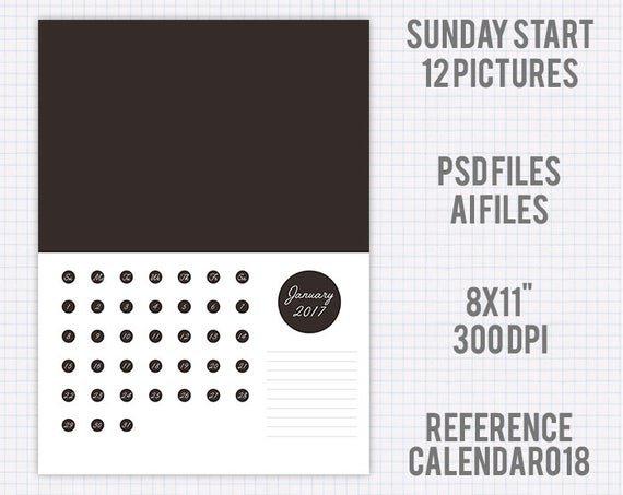 Calendar 2017 Template 8X11 Usa Version Sunday Start 12 8X11 Sie Free April Calander