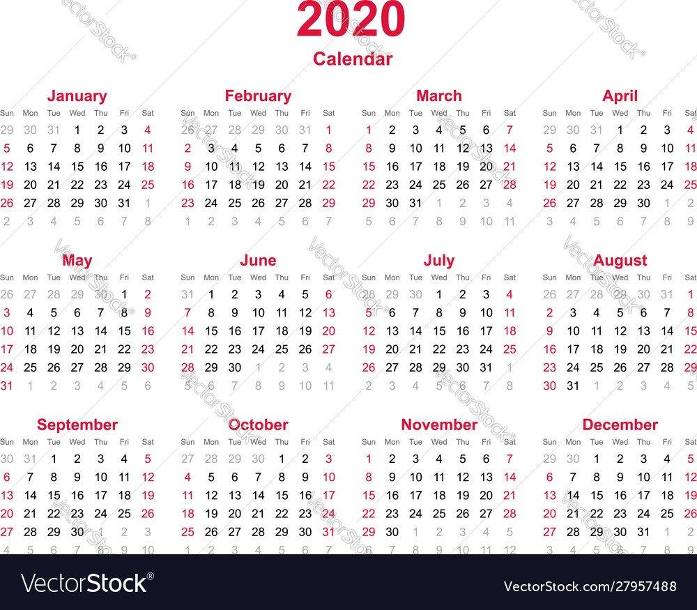 Calendar 2020 – 12 Months Yearly Calendar Vector Image Updateable 12 Month Calendar – Free