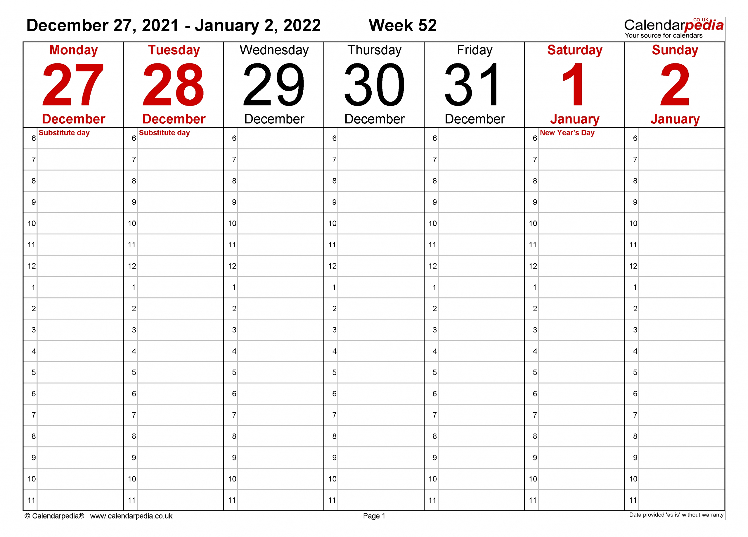 Calendar 2021 Showing The Number Of Days 1 To 365 Days Numbered 1 To 365