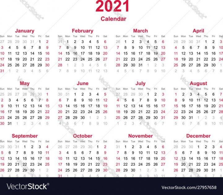 Calendar 2021 Vector Image – Nohat – Free For Designer Calendar With Number Days 365