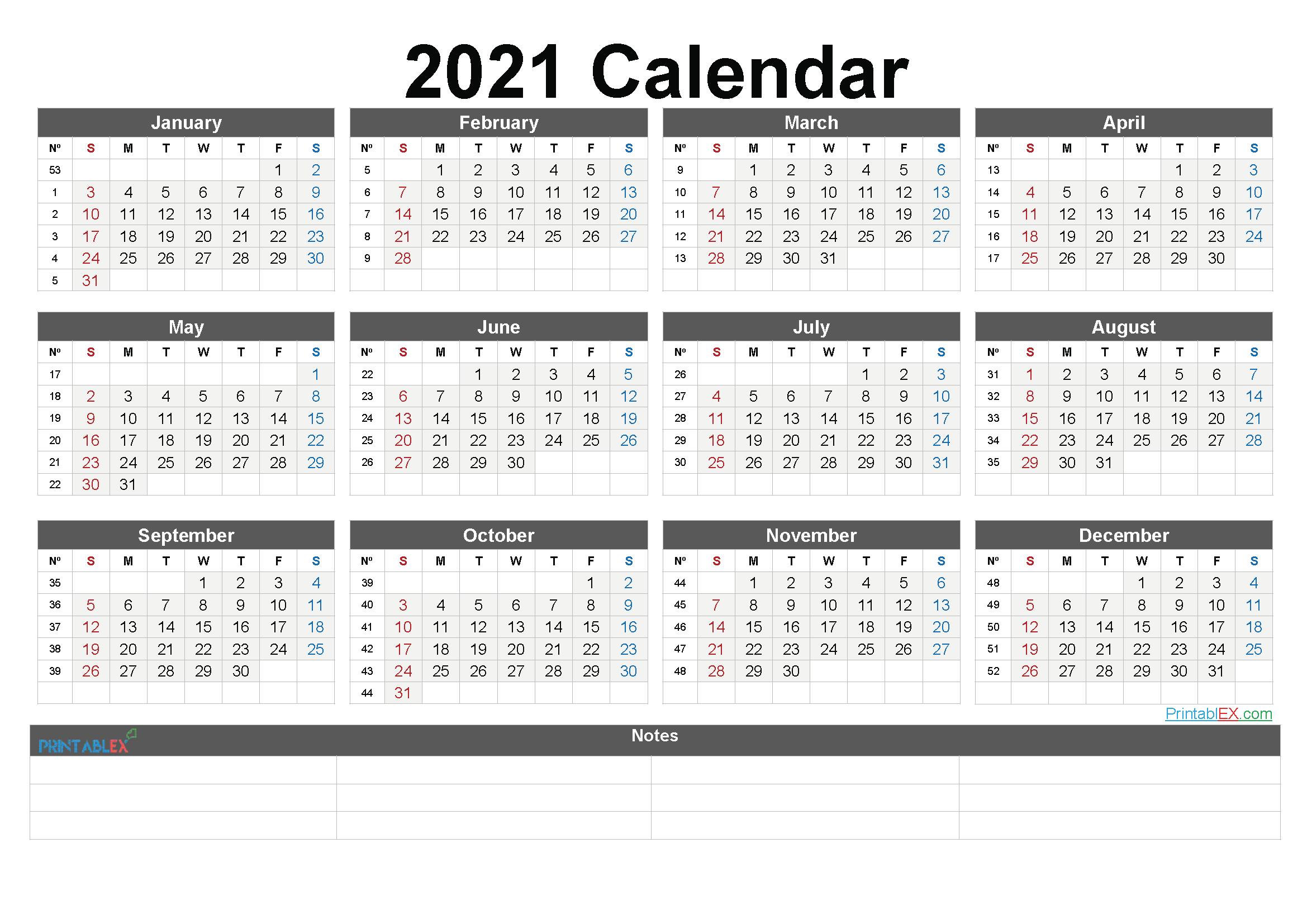 Calendar 2021 Weeks – United States Map Weekly Numbered 52 Week Calendar Printable