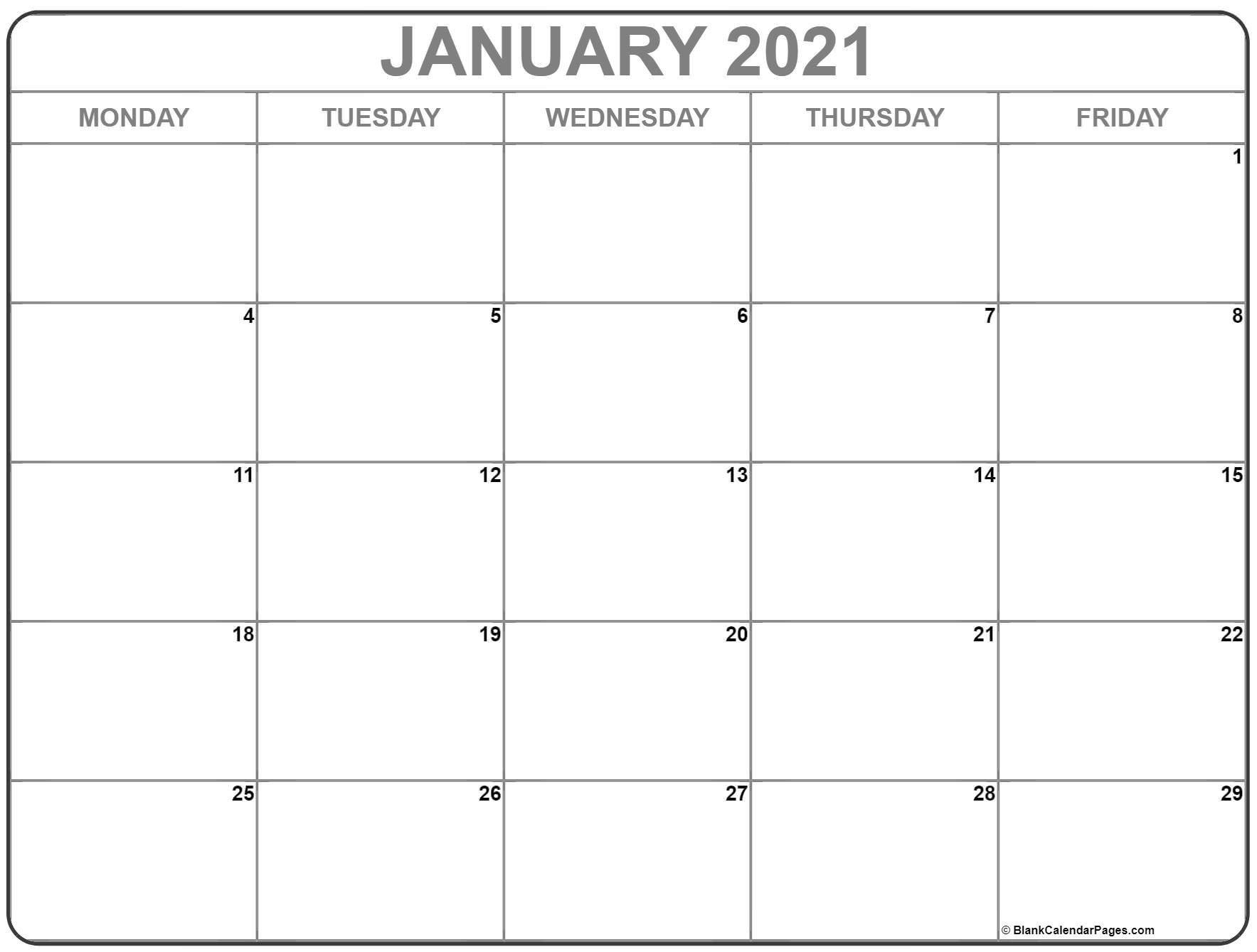 Calendar Monday Through Friday 2021 – Example Calendar Free Printable Calendars By Month Monday Through Sunday
